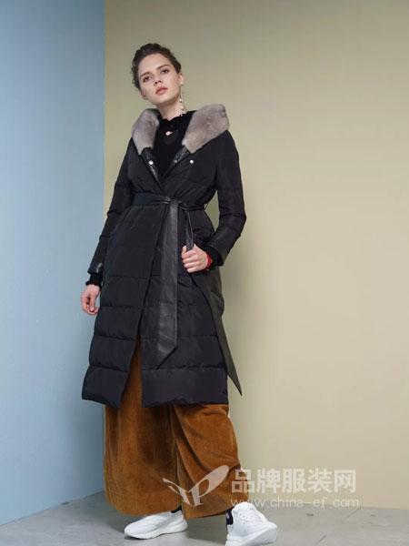 布兰雅女装2018秋冬新款韩版修身加厚大码大毛领羽绒服