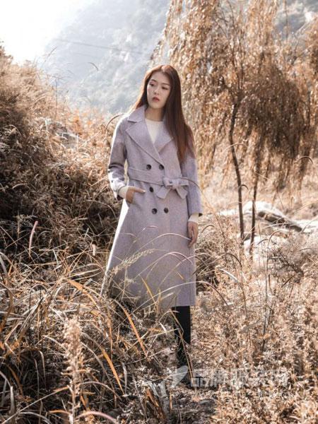 梦栖女装2018冬季中长款纯色双排收腰百搭修身英伦风风衣