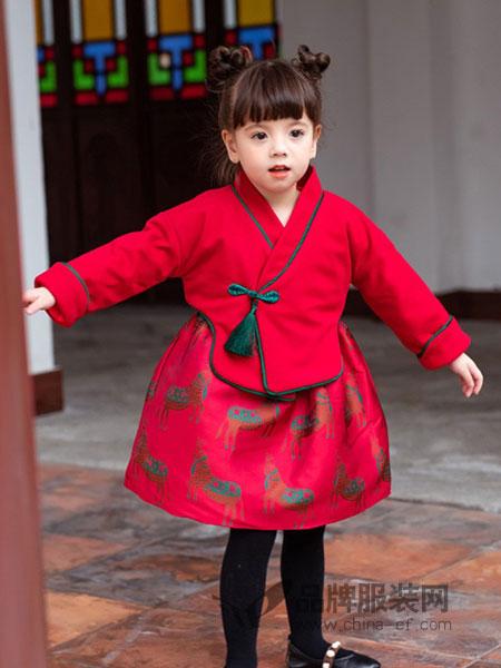 贝贝豆丁童装2018秋冬新款民族风长袖棉混纺布连衣裙