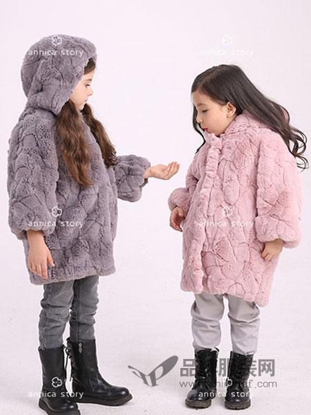 Annica艾尼卡童装2018秋冬儿童中长款毛毛衣厚外套女大童大衣外套