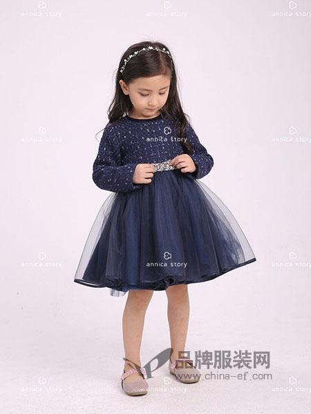 Annica艾尼卡童装2018秋冬新款韩版蕾丝长袖灯笼泡泡袖公主裙子