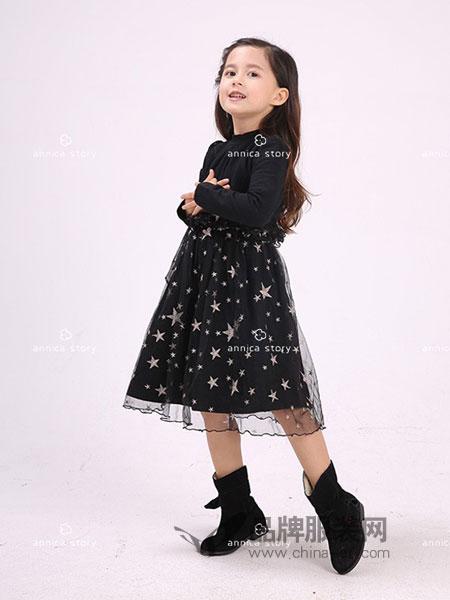 Annica艾尼卡童装2018秋冬黑色显瘦气质连衣裙
