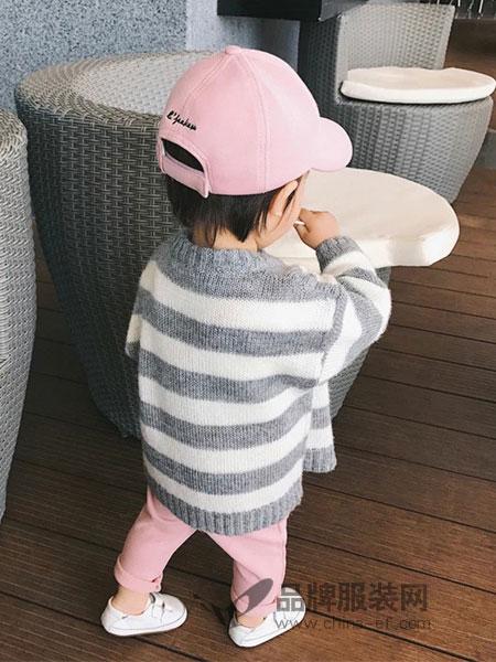 派克叮当童装2018秋冬条纹针织衫