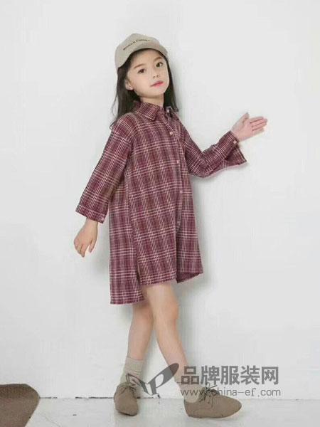派克叮当童装2018秋冬格子衬衫裙