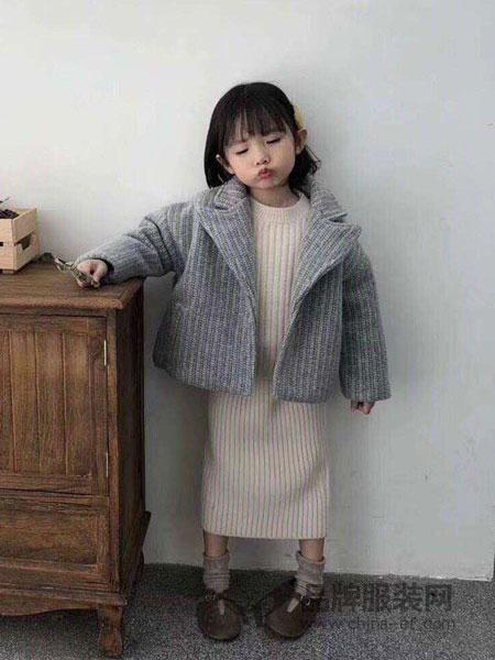 派克叮当童装2018秋冬条纹毛呢大衣