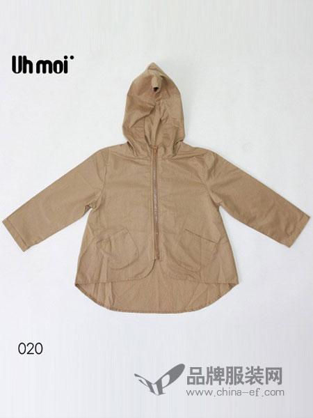 Uh MOI童装2018秋冬纯色薄款风衣