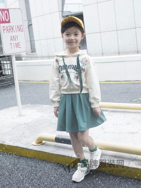 童淘库童装2018秋冬韩版时尚印花5卫衣短裙两件套潮