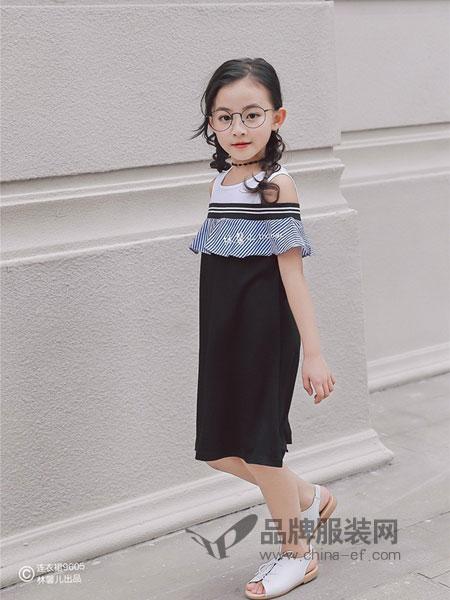林馨儿童装2018春夏条纹露肩荷叶边连衣裙