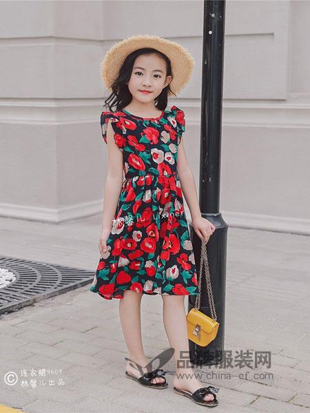林馨儿童装2018春夏中长款圆领无袖收腰显瘦印花棉麻连衣裙