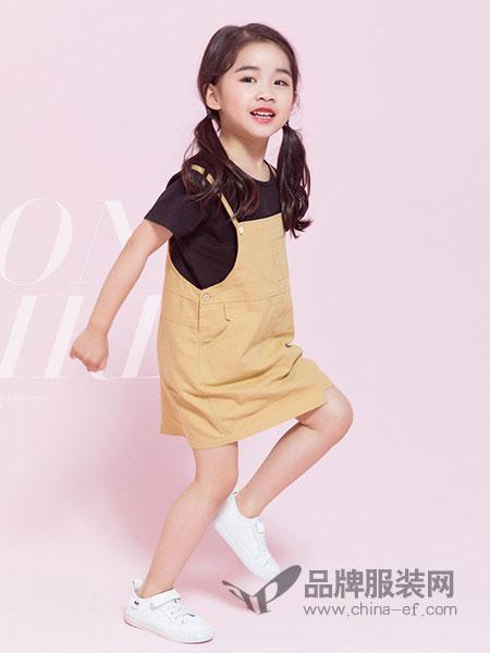 调皮孩子童装2018春夏纯色背带裙