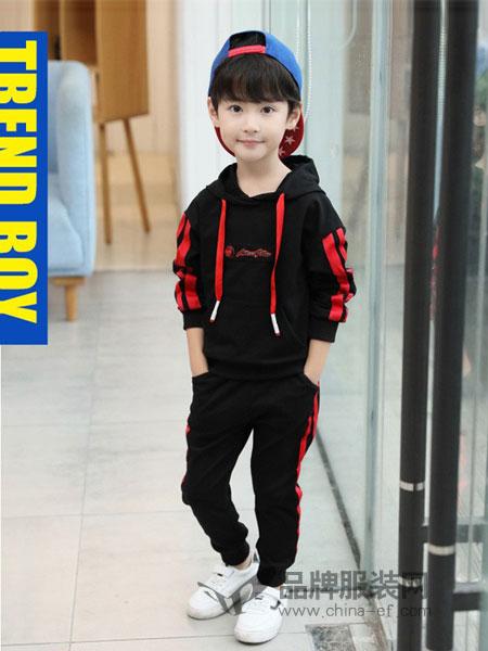 CX童装2018秋冬条纹贴布连帽休闲卫衣