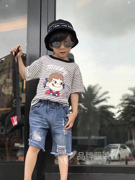 阿拉小睿童装2018春夏中大童韩版破洞儿童马裤