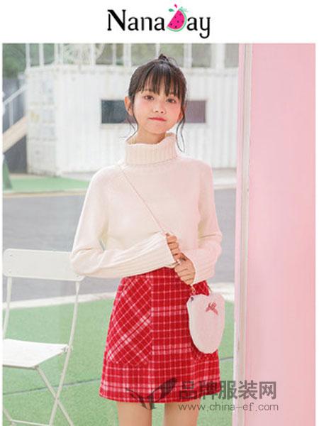 娜娜日记女装2018秋冬高腰显瘦格子A字裙短裙半身裙女