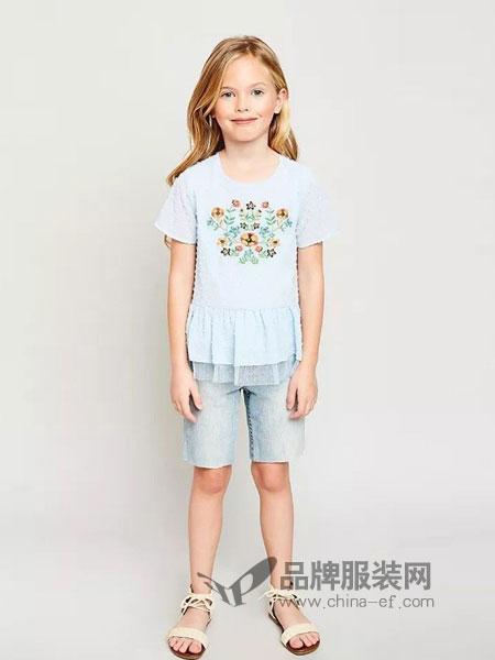 惠衣登童装2018春夏显瘦中长款蕾丝五分袖上衣