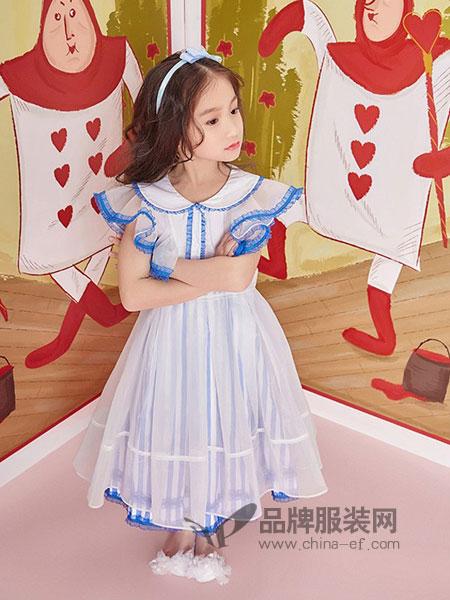 MISSOSE童装2018春夏蓝色连衣裙2件套女童