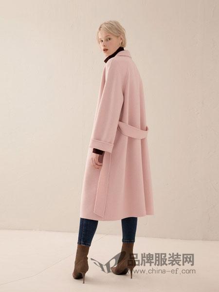 奕色女装2018秋冬双面呢大衣羊绒外套原创设计女装中长款