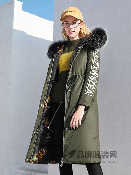 春美多女装2018秋冬新款韩版字母大毛领收腰连帽外套
