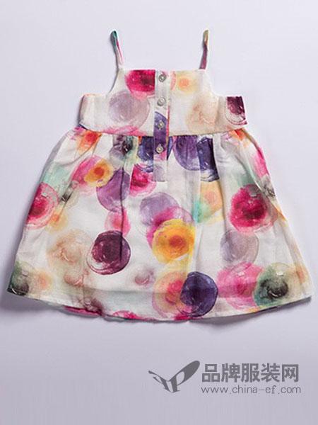 尚芭蒂童裝花紋吊帶裙