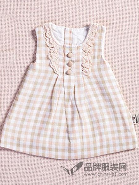 尚芭蒂童裝格紋無袖連衣裙