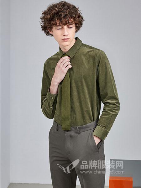 AEX男装2018秋冬男士暗扣压线修身潮流长袖衬衫