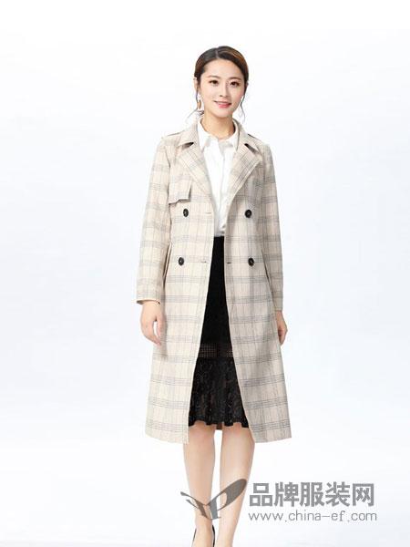 娜么美女装2018秋冬格纹毛呢大衣
