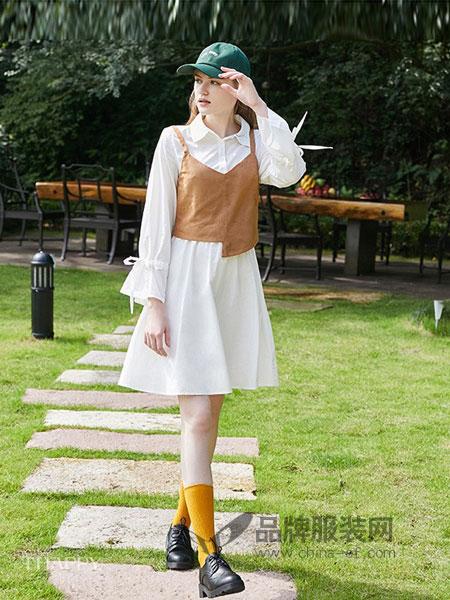海贝女装2018秋冬短款吊带背心+长袖衬衫白色连衣裙两件套装裙