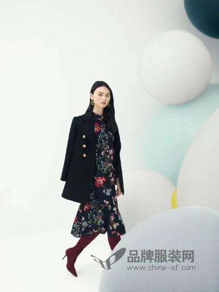 莱茵女装2018秋冬时尚连衣裙气质优雅风衣外套宽松显瘦小香风