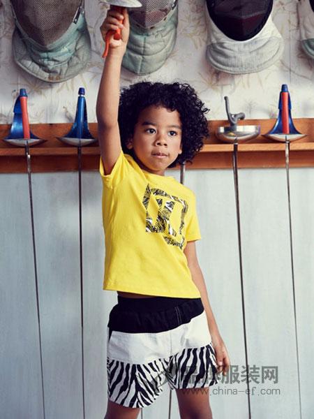 IKKI安娜与艾伦童装2018夏季纯棉儿童休闲中小童半袖童装