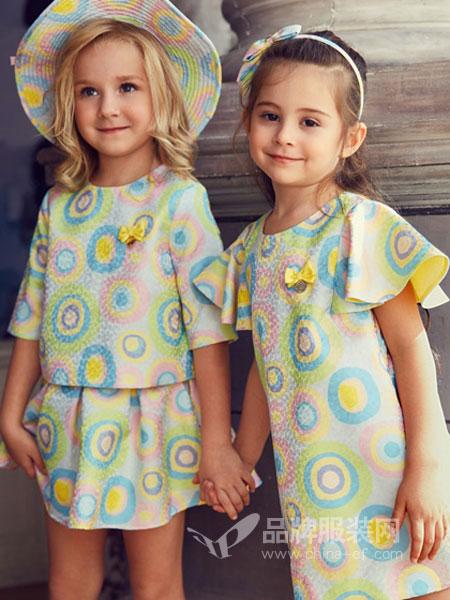 IKKI安娜与艾伦童装2018夏季女童圆领连衣裙满身印花