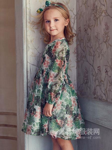 IKKI安娜与艾伦童装2018夏季长袖碎花娃娃裙