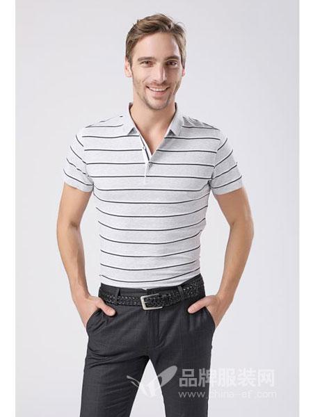摩衣柜男装时尚休闲t恤修身青年翻领条纹短袖