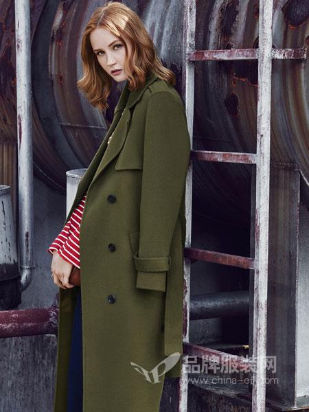 时尚自由点女装2018秋冬新款绑带宽松加厚呢子大衣