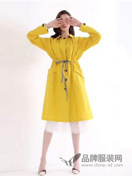 安迪诗女装2018秋冬气质黄色宽松百搭领中长款过膝风衣外套系带