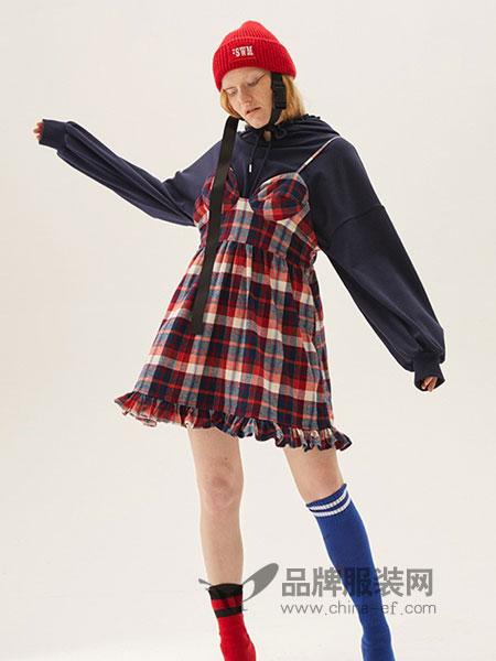YOUPPIE!女装2018秋冬格子连衣裙两件套新款小个子高腰裙