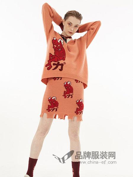 YOUPPIE!女装2018秋冬拼色V领慵懒风毛衣宽松针织衫