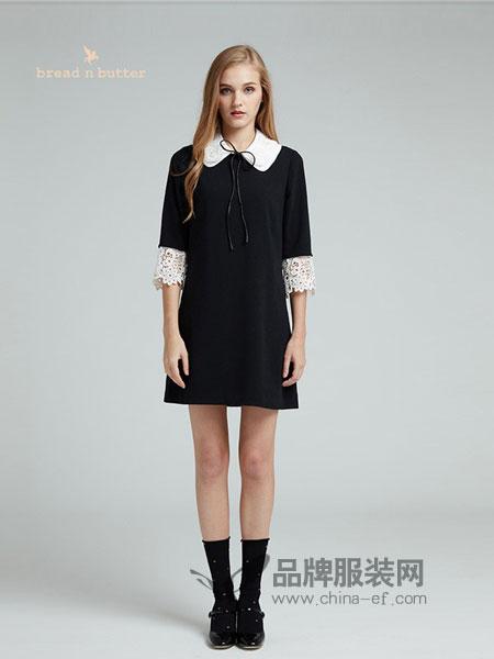 黄油面包女装2018秋冬蕾丝拼接翻领复古连衣裙