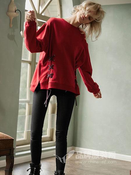 SITI女装2018秋冬两侧系绳绑带短款纯色套头卫衣T恤衫