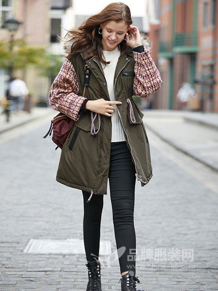 SITI女装2018秋冬毛领粗花呢拼接袖羽绒服收腰中长款外套