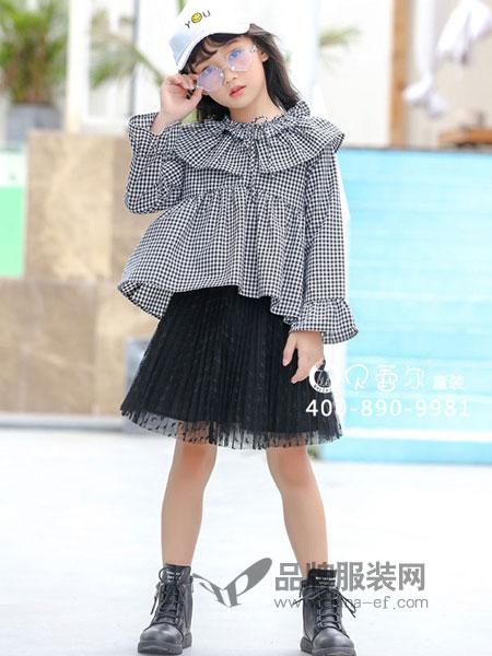 贝蕾尔童装2018秋冬新款韩版中大童长袖格子荷叶边儿童衬衣公主裙潮