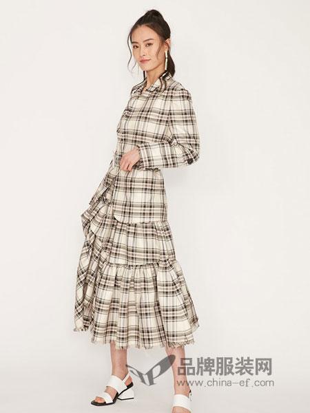娜样女装2018秋冬新款一粒扣方格合身小西装女休闲百搭短外套