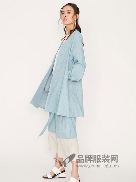 娜样女装2018秋冬新款荡领棉麻丝混纺长袖中长款长款外套