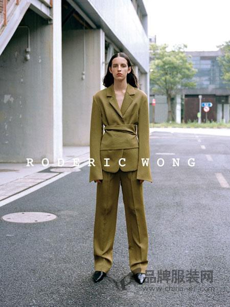 RODERIC WONG女装2018秋冬名媛气质长款西装高腰阔腿裤