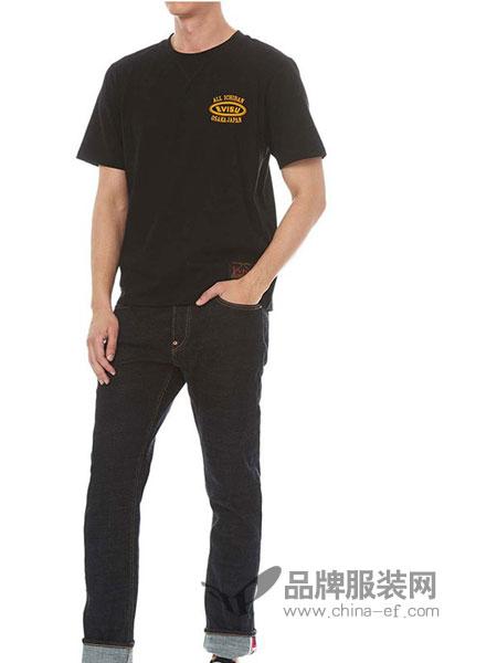 依维斯牛仔2018秋冬男士惠比寿图案印花短袖T恤