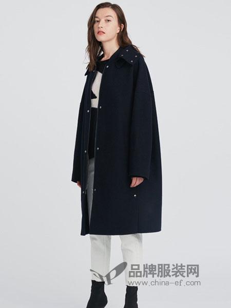 ISE女装2018秋冬羊毛大衣女 深蓝色连帽中长款外套保暖舒适