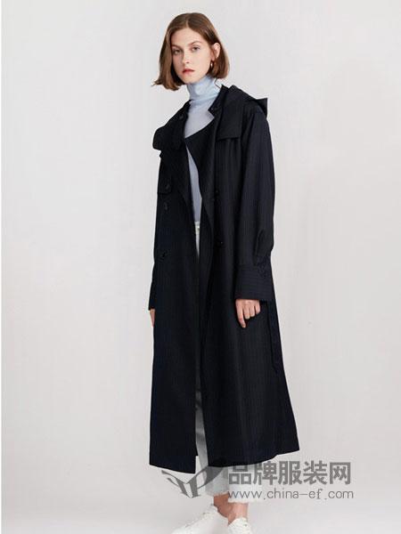 ISE女装2018秋冬风衣 经典深蓝色条纹外套复古时髦