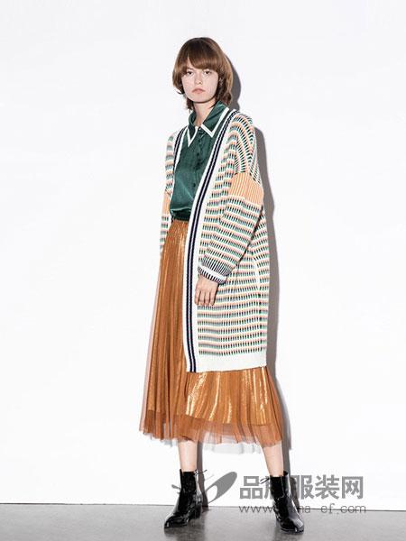 DOTACOKO女装2018秋冬撞色提花针织外套条纹图案开衫