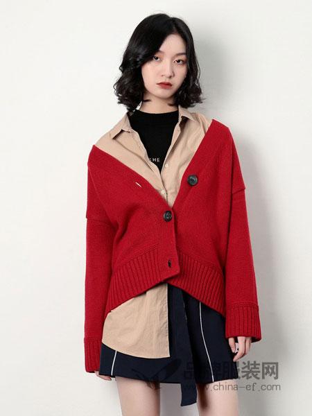 rancloth/然可时女装2018秋冬时尚甜美荷叶边单排扣针织开衫