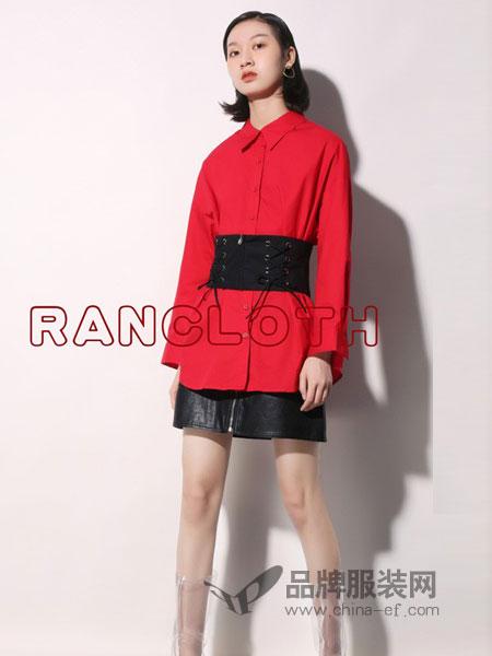 rancloth/然可时女装2018秋冬新款连衣裙女暗扣拼接系带收腰双层雪纺裙子