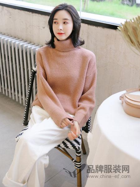左韩女装2018秋冬高领针织套头长袖