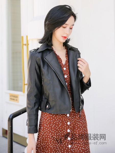 左韩女装2018秋冬修身显瘦时尚皮外套小皮夹克